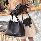 Sufang 4Pcs/Set Fashion Women Handbags Purse Shoulder Bags Casual Tassel Tote Bag Dark grey 4 Set Bags