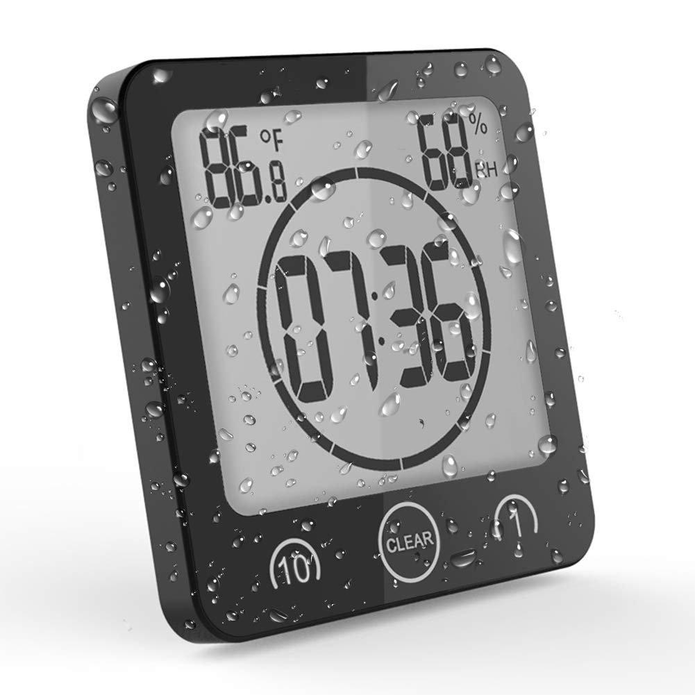 OCEST Digital Bathroom Shower Kitchen Clock Timer with Alarm Temperature Humidity Waterproof Touch Screen Timer Large Number Display with Suction Cup Hanging Wall Clock Shelf Clock- Black by OCEST