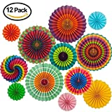 Fiesta Decorations Colorful Paper Fans Round Lantern Paper Garlands Mexican Party Supplies Cinco De Mayo Carnival Hanging Decoration for Party, Event, Home Decoration Favors (Set of 12)
