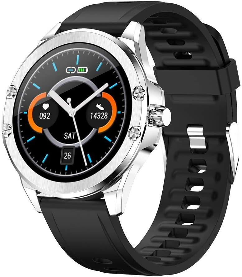 Deciduous Bluetooth Inteligentes Relojes Rastreadores de la Aptitud con la Presión del Corazón y la Sangre del Monitor del Contador de Paso, Podómetro Que Recorre por Hombres y Mujeres,Plata