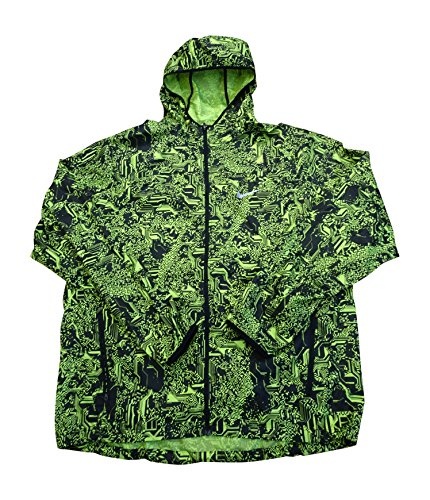 Nike Shield mens Printed Hooded Lightweight Running Jacket 800494 (Small, yellow black 010) by NIKE