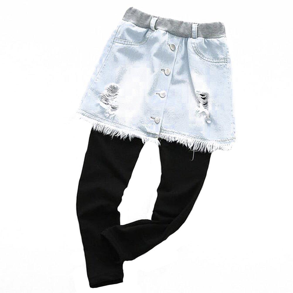 BOZEVON Girls Kids Cotton Leggings - Fall Childrens Girl Casual Pants Denim Stitching Design 3-8 Years Old