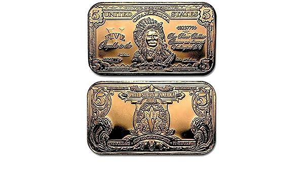 Indian Chief $5 Dollar Banknote 1oz Pure Copper Bullion Bar!!