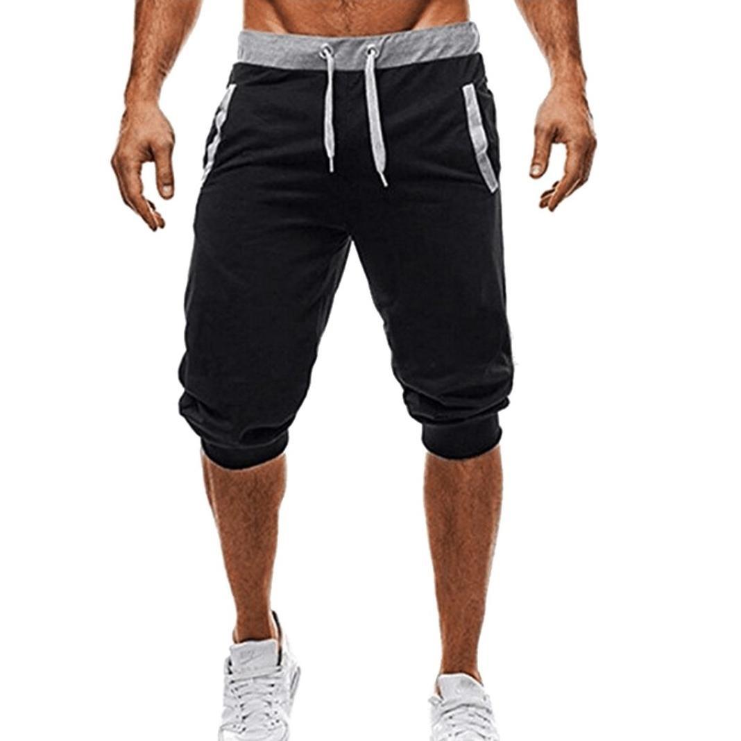 GREFER Men Sport Fitness Jogging Elastic Stretchy Bodybuilding Bermuda Sweatpants