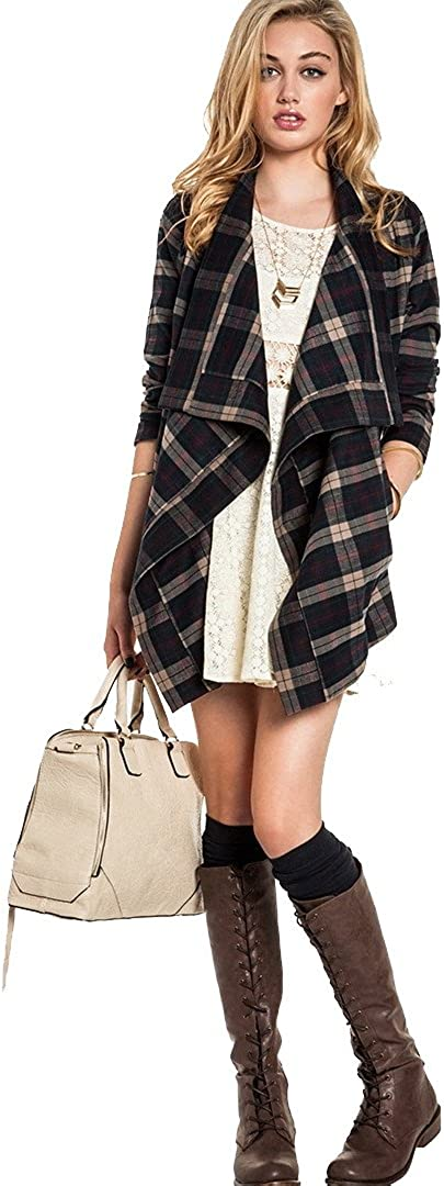 Lovers+Friends Days Like These Plaid Flannel Jacket Draped Open Asymmetrival Collar