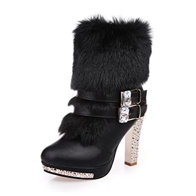 Women Rhinestone Buckles Warm Fur Winter Ankle Boots Round Toe Platform High Heel Women Snow Boots