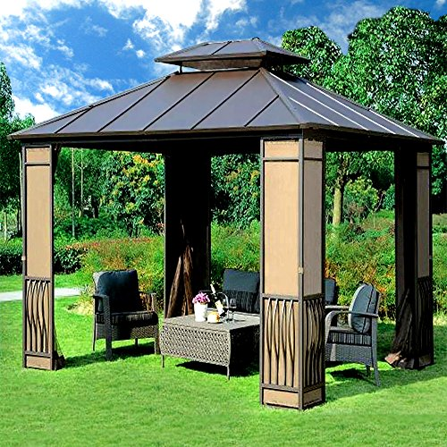 10 x 12 heavy duty galvanized steel hardtop wyndham patio for Outdoor furniture gazebo