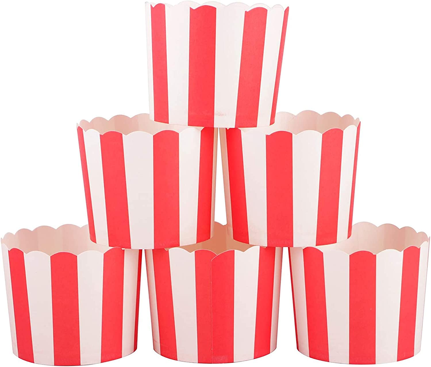 Webake Full Size Paper Baking Cups Red Cupcake Liners for Popcorn Cupcake, Cupcake Bath Bomb, Muffin Case, Great for Valentine's Day Cupcake Baking Decoration Set of 25 (Red Stripe)