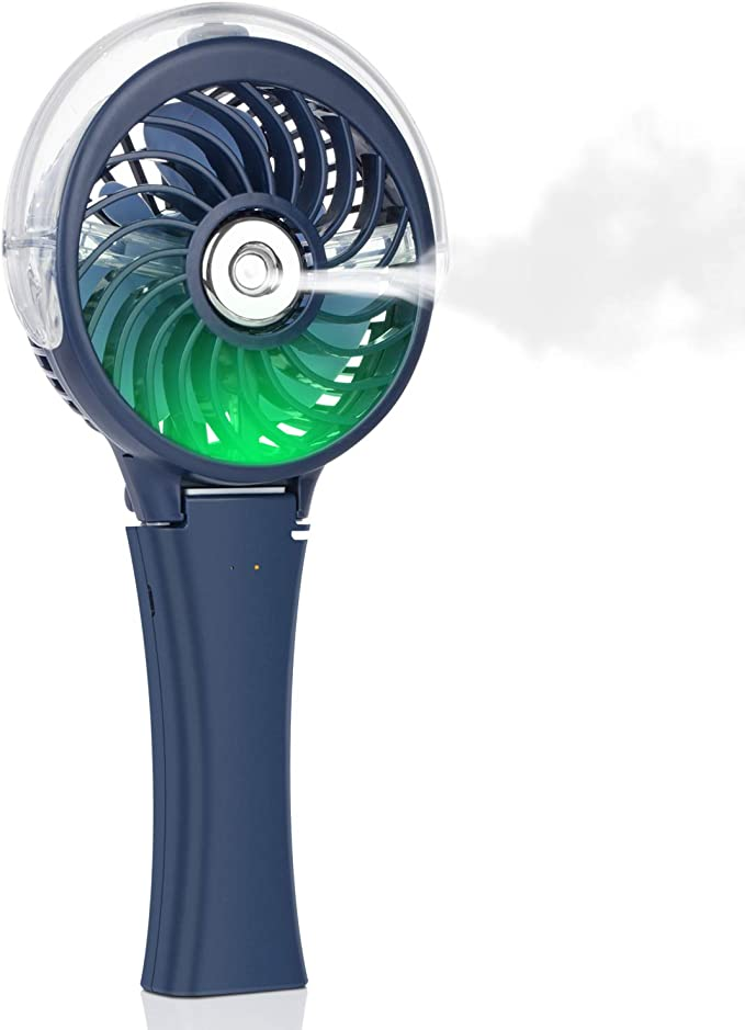 Portable Small Battery Operated Water Spray Face Fan Blow Cool Air Foam Blade