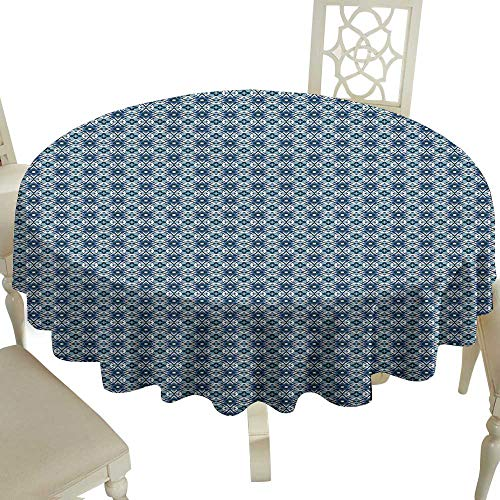 Cranekey wipeable Round Tablecloth 65 Inch Traditional,Abstract Portuguese Mosaic Ancient Azulejo Tiles Spanish Cultural Heritage Multicolor Great for Buffet Table,Parties,Holiday Dinner & More -