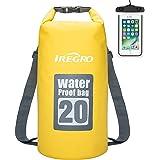 IREGRO Bolsas Estancas Impermeable 10L / 20L 500D Doble Correa para el Hombro seco Bolsa Mochila Impermeable con Caja teléfono Resistente al Agua para natación, canotaje, Lona, Camping, Flotante