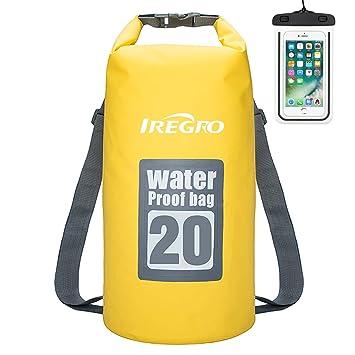 IREGRO Bolsas Estancas Impermeable 10L / 20L 500D Doble Correa para el Hombro seco Bolsa Mochila Impermeable con Caja teléfono Resistente al Agua para ...