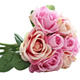 Outtop 9 Heads 10.6 Inch Rose Artificial Flowers Bouquets Real Touch Fake Flower for Decoration (Pink) by Outtop