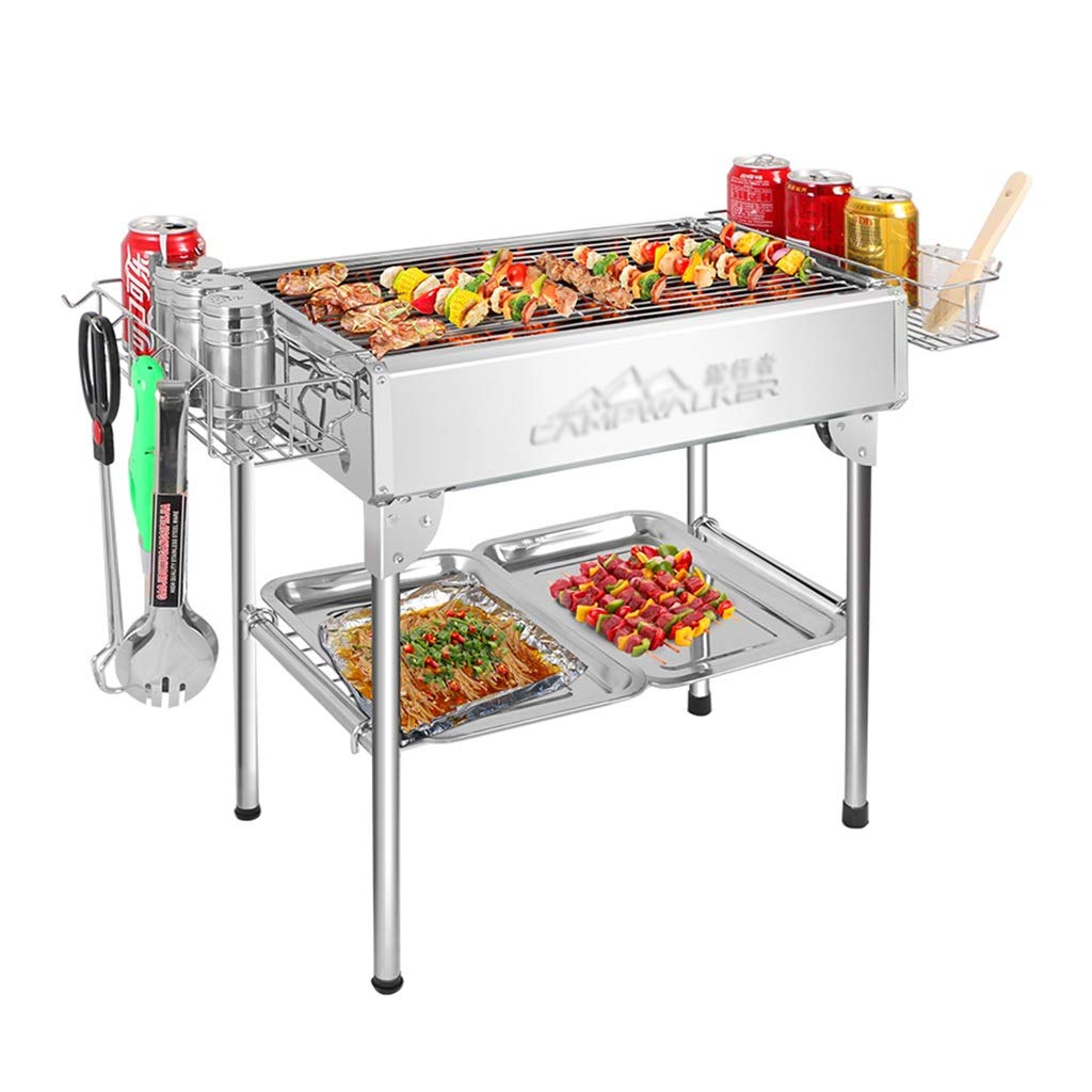 Barbecue Grill Stainless Steel Grill Charcoal Tools Picnic Folding Oven Patio BBQ BBQ, Full Accessories Smokeless (Color : Silver, Size : 473153cm)