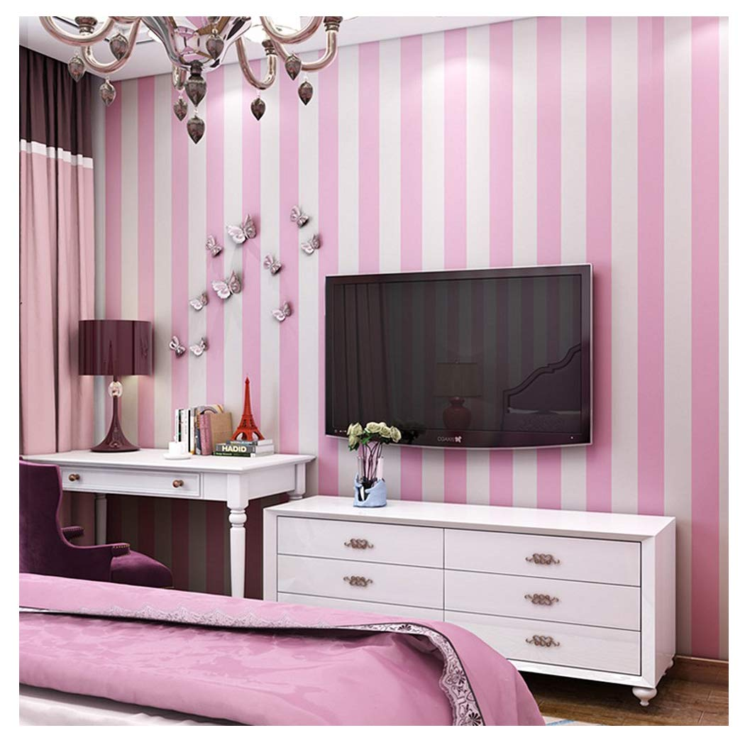 Blooming Wall Modern Stripes Peel And Stick Paint Wallpaper Self Adhesive Wallpaper Wall Decor Contact Paper Pink White Stripes