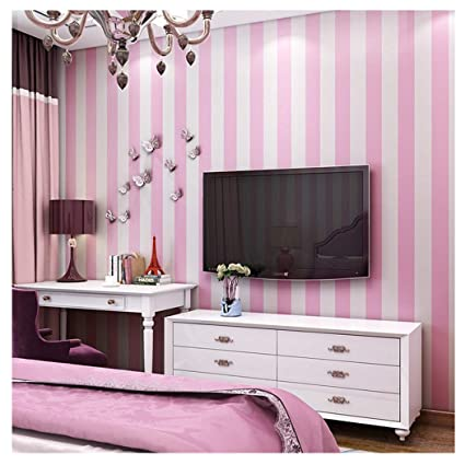Blooming Wall: Modern Stripes Peel-and-Stick Paint Wallpaper Self Adhesive  Wallpaper Wall Decor Contact Paper (Pink/White Stripes)