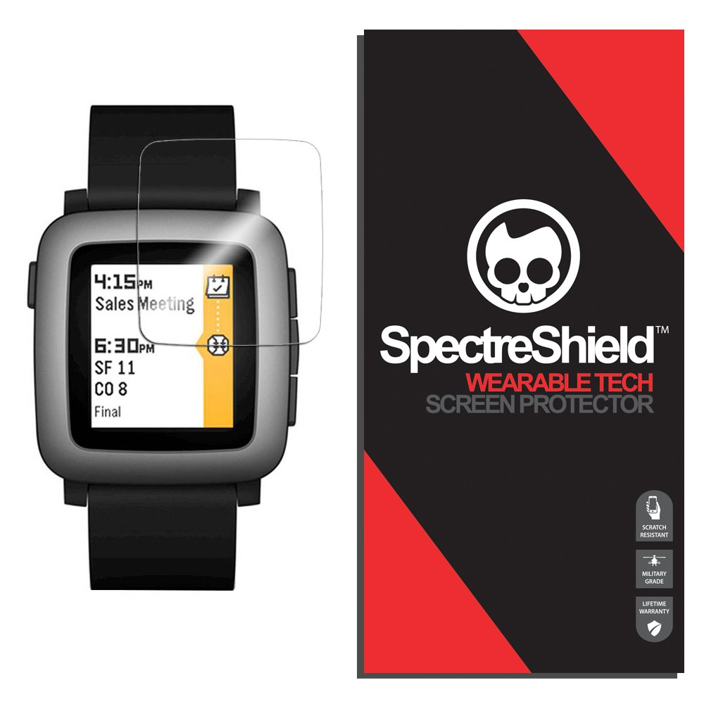 (6-PACK) Spectre Shield for Pebble Time Screen Protector (Military-Grade) Flexible Full Coverage Invisible HD Clear Anti-Bubble Anti-Scratch Film
