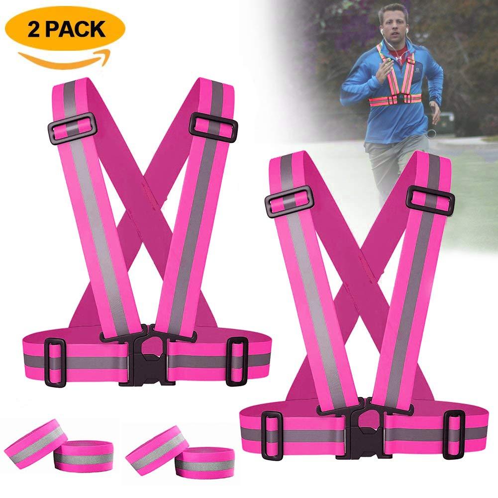 ATNKE 2-Pack Reflektierende Warnweste, elastische und verstellbare Laufbekleidung Reflektierende Ausr¨¹Stung zum Gehen, Joggen, Radfahren, Motorrad