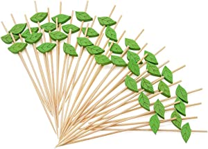 MMTX Cocktail Picks 100pcs 4.72inch Handmade Fruits Bamboo Toothpicks for Party Drink Fruit Dessert Food Appetizers Decoration-Leaf