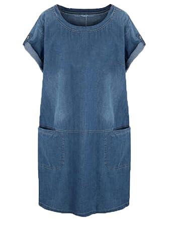 Tayaho Kleid Damen Rundhals Kurzarm Sommerkleider Große Größen