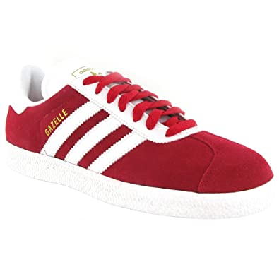 Adidas Gazelle 2 Red White Suede Mens Trainers Size 10 UK