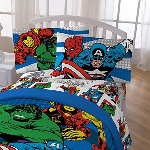 5 Piece Kids Superheroes Themed Comforter Full Set, Adorable Superheroes Themed, Beautiful Animated Printed Revesible Bedding, Spider Man, Captain of America, Hulk, For Unisex, Vibrant Colors by OS