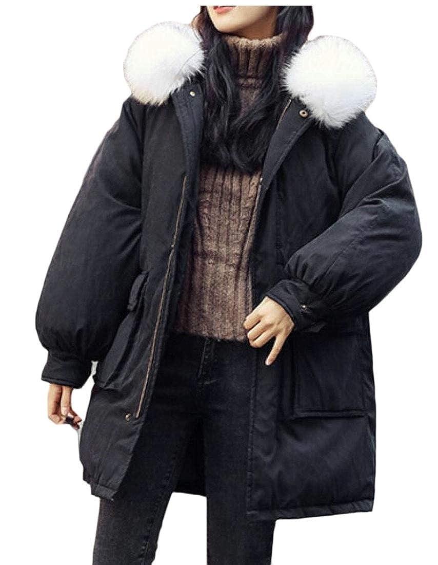 Black omniscient Women Outdoor Coat Fur Hoodie Jacket Thicken Long Trench Parkas Coat