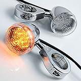 2pcs 20 LED Chrome Front Rear Turn Signal Light 41mm Fork Clamp Custom Bike Motorcycle Cruiser Chopper Touring