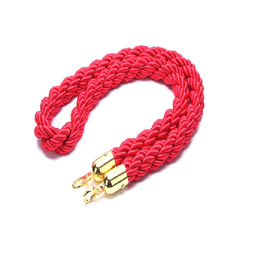 """Barrier Rope Crowd Control Stanchion 60/"""" Red Velvet Rope with Silver Hardware"""