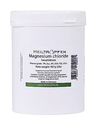 Cloruro de Magnesio 907g, Hexahidrato, Grado Farmacéutico, Polvo de Cristal, Pure Ph