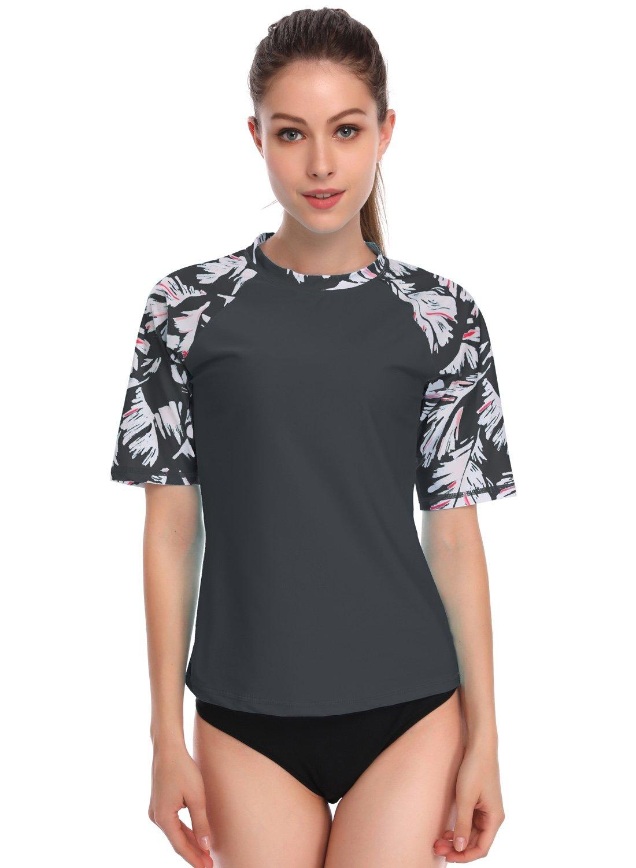 Stella Women's UPF 50+ Sun Protective Rashguards Short Sleeve Active Rashguard and Workout Top Grey XL