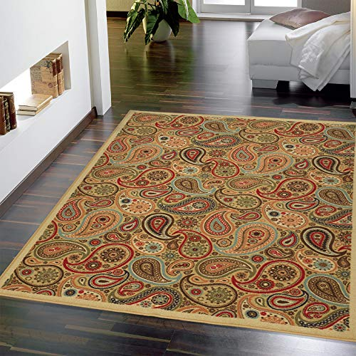 - Ottomanson Ottohome Collection Contemporary Paisley Design Non-Skid (Non-Slip) Rubber Backing Modern Area Rug, 5' X 6'6