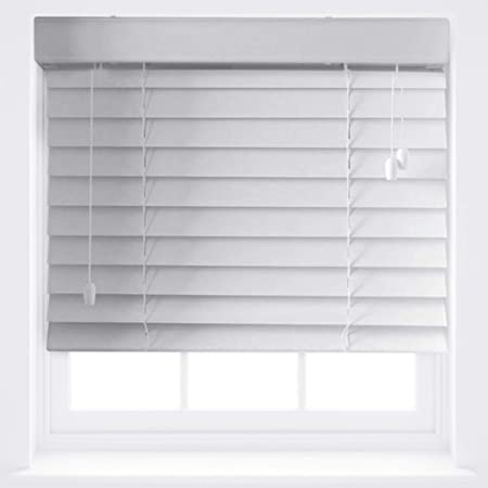 Furnished Luxury White Wood Effect Venetian Blinds 50mm Made To Measure Up To 120cm X 210cm