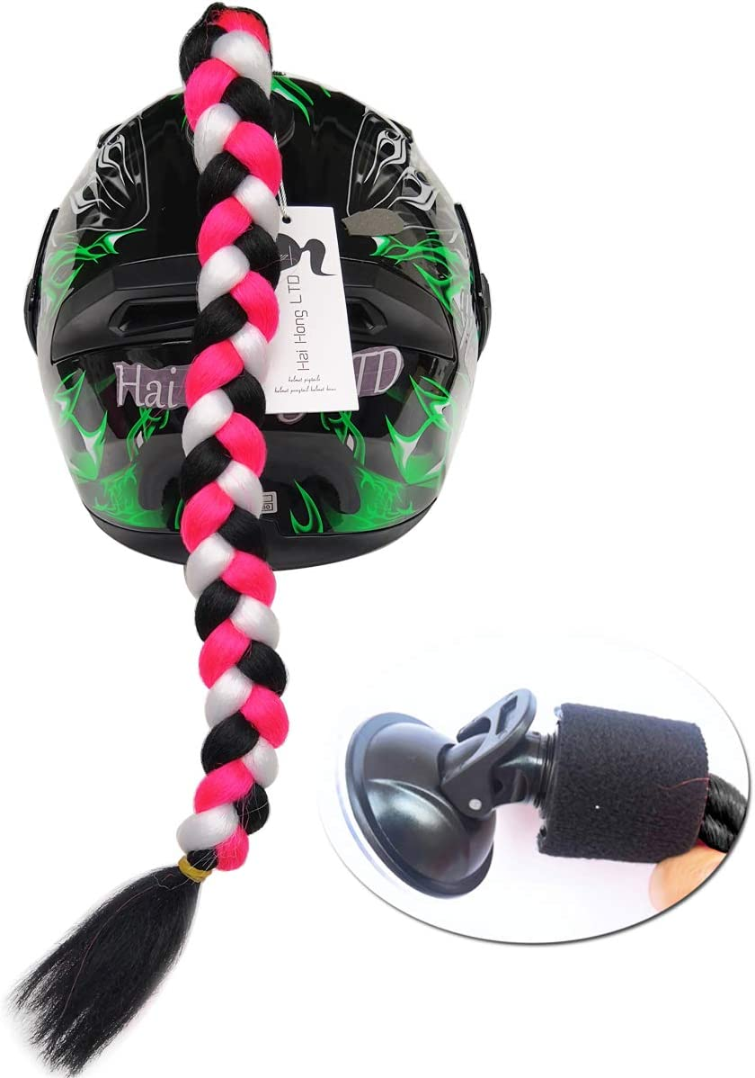 haihong Helmet Hair Helmet Pigtails Gradient Ramp Helmet Braids Ponytail with Suction Cup with Bowknot for Motorcycle Bike 1PCS 24inch MIX01