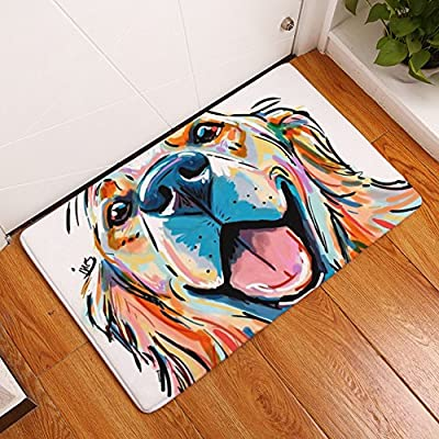 YJBear Colorful Lovely Dog Pattern Floor Mat Coral Fleece Home Decor Carpet Indoor Outdoor Area Rug Rectangle Doormat Kitchen Floor Runner