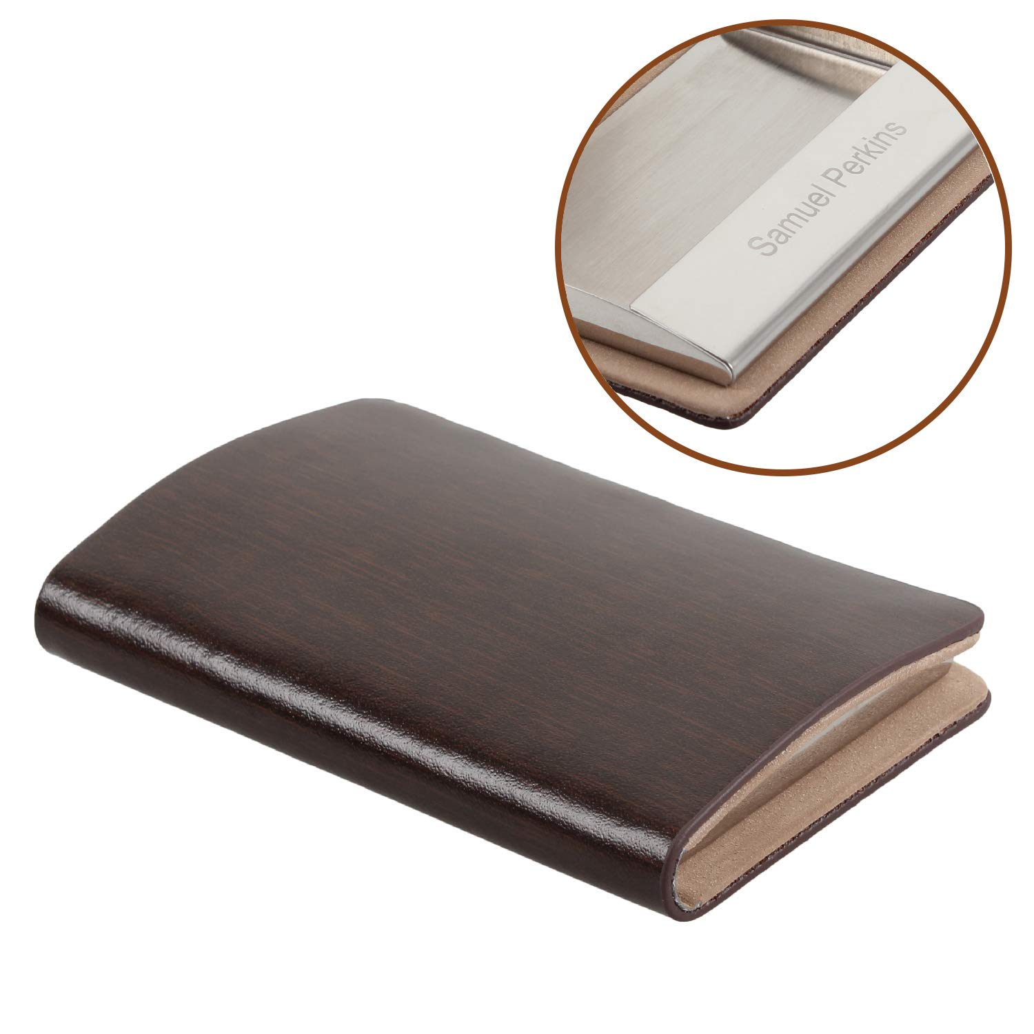 SOLEADER Personalized Leather Business Card Holder for Men, Credit Card Case HH-STUDIO CUSTOM