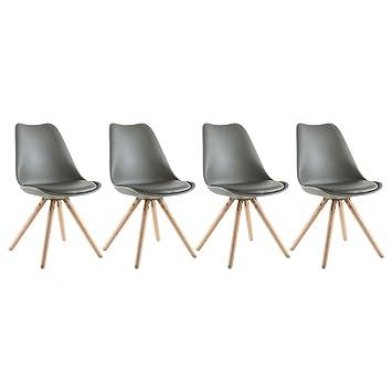 happy garden lot de 4 chaises scandinaves dita grises avec coussin - Chaises Scandinaves Grises