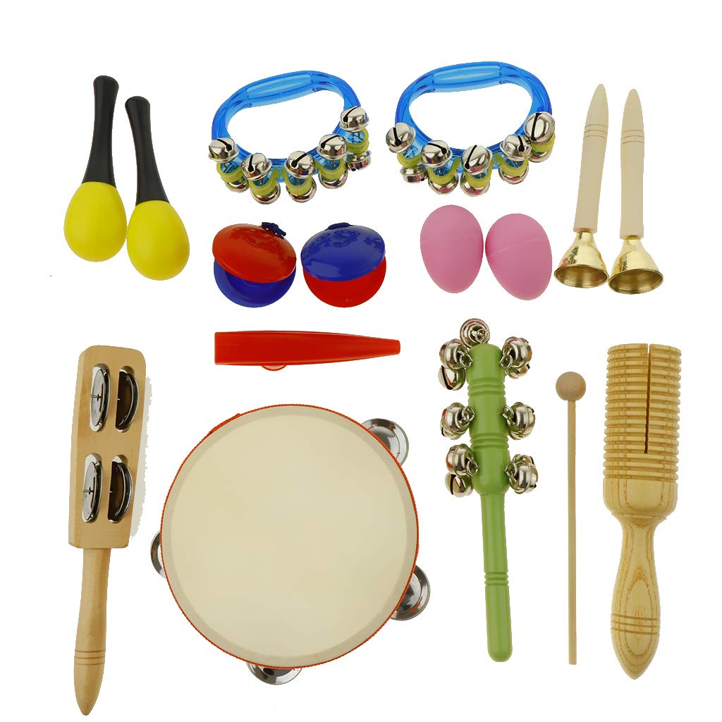 kesoto 16pcs Toddler Musical Instrument Toy Set, Tambourine & Maracas & Crow Sounder and More for Kids Children Music Party Toy by kesoto (Image #6)