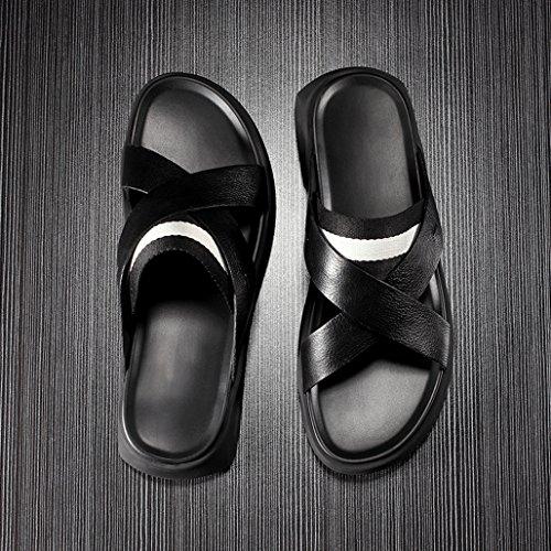 Black Hombres Sandalias Cuero Antideslizantes De Zapatillas D Moda Los qF8tF