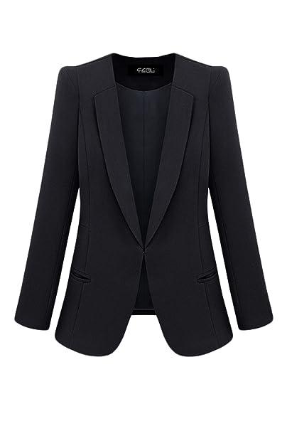Mupoduvos La Mujer Formal Soild Solapa Frontal Abierto Oficina Blazer Chaqueta Bomber Plus Size: Amazon.es: Ropa y accesorios
