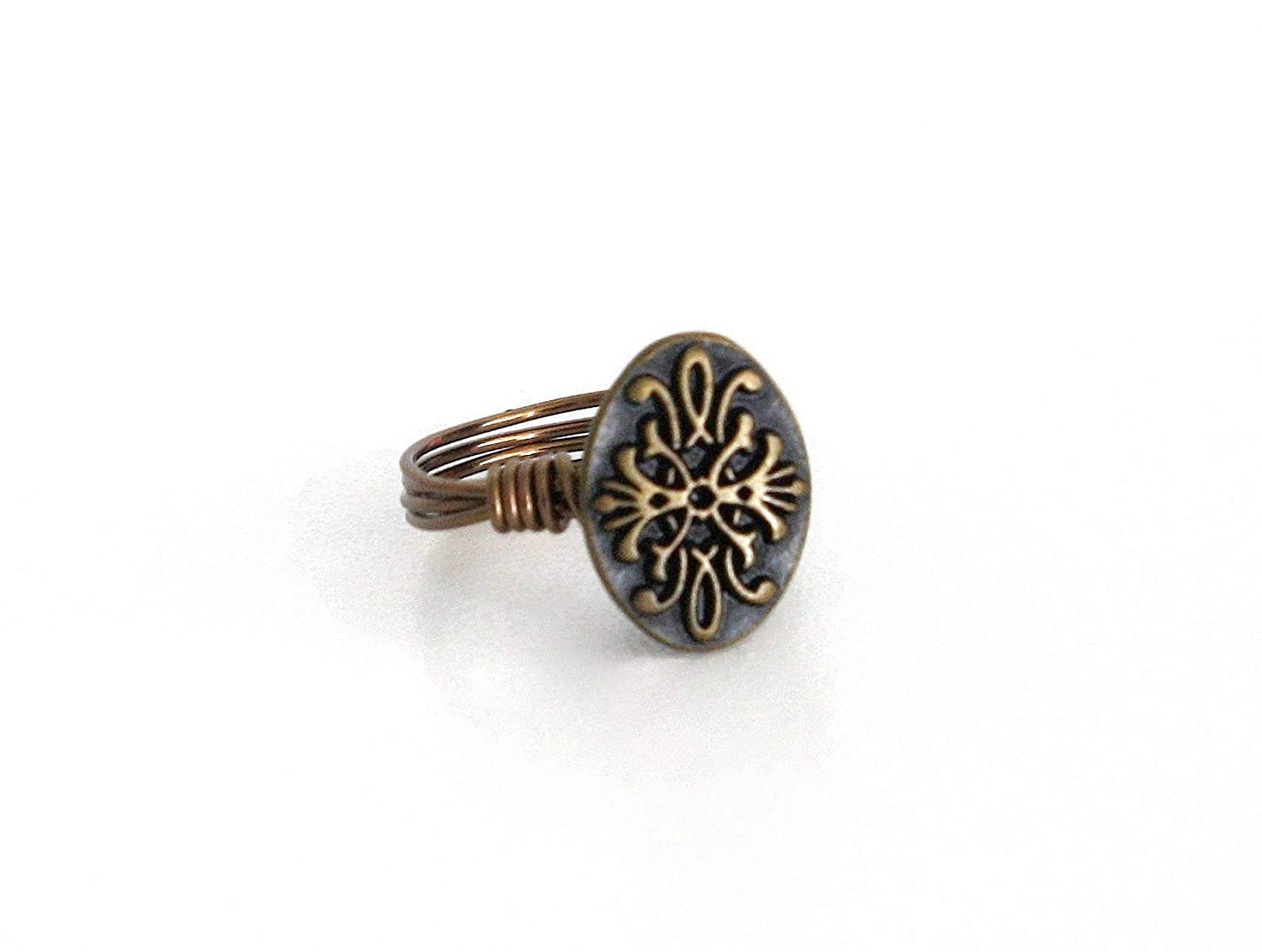 Handcrafted  wire wrapped vintage gold button ring