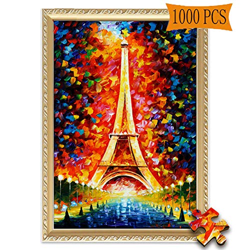 (Jigsaw Puzzles 1000 Pieces Eiffel Tower Paris Tower by Leonid Afremov Artwork Art for Adult Grown Up Puzzles Large Size Toy Educational Games Gift Jigsaw Puzzle JigsawPuzzle 1000 PCS )