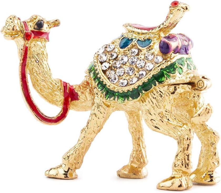 YU FENG Crystal Camel Figurines Decor Ornament,Golden Enamel Camel Statues Animal Trinket Jewelry Box Hinged