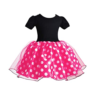 IBTOM CASTLE Baby Girls' Polka Dots Leotard Dresses Fancy Dance Costume Cosplay Tutu Dress up with Ears Headband: Clothing
