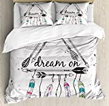 Ambesonne Indie Duvet Cover Set Queen Size, Boho Style Tribal Ethnic Arrows Triangle Shape Dream On Hand Writing Feathers, Decorative 3 Piece Bedding Set with 2 Pillow Shams, Black White Pink