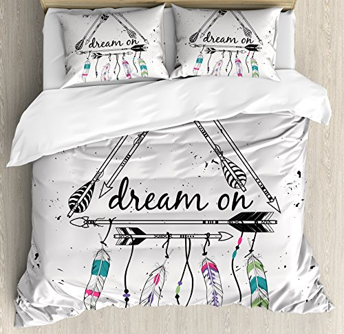 Ambesonne Indie Duvet Cover Set Queen Size, Boho Style Tribal Ethnic Arrows Triangle Shape Dream On Hand Writing Feathers, Decorative 3 Piece Bedding Set with 2 Pillow Shams, Black White Pink Clear Set Headboard