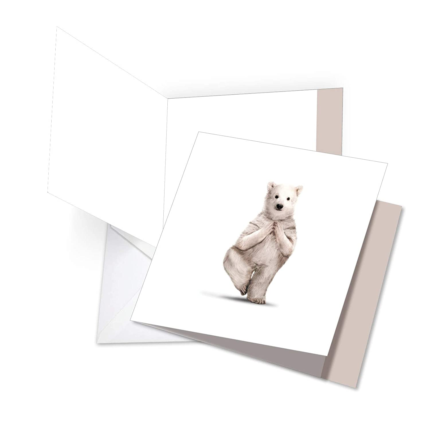 Zoo Yoga - Big Thank You Card with Envelope (8.25 x 9.75 Inch) - Hilarious White Polar Bear, Get Well Soon Greeting Card - Zen Yoga, Animal Stationery ...