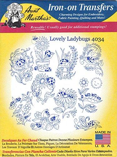 Lovely Ladybugs Aunt Martha's Hot Iron Embroidery Transfer