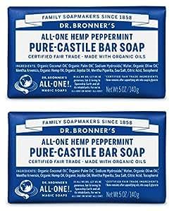 Dr. Bronner's Organic Pure Castile Bar Soap, Peppermint, 5 oz, 2 pk