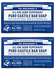 Dr. Bronner's Organic Pure Castile Bar Soap, Peppermint, 5 oz, 2 pk